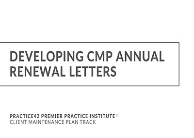 Developing CMP Annual Letters