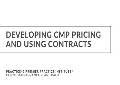 Developing CMP Pricing and Using Contracts