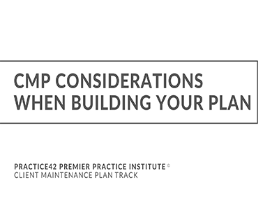 CMP Considerations When Building Your Plan